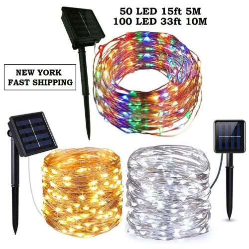 Outdoor Solar Powered 16.5Ft 33Ft 50 100 LED 5M10M Copper Wi