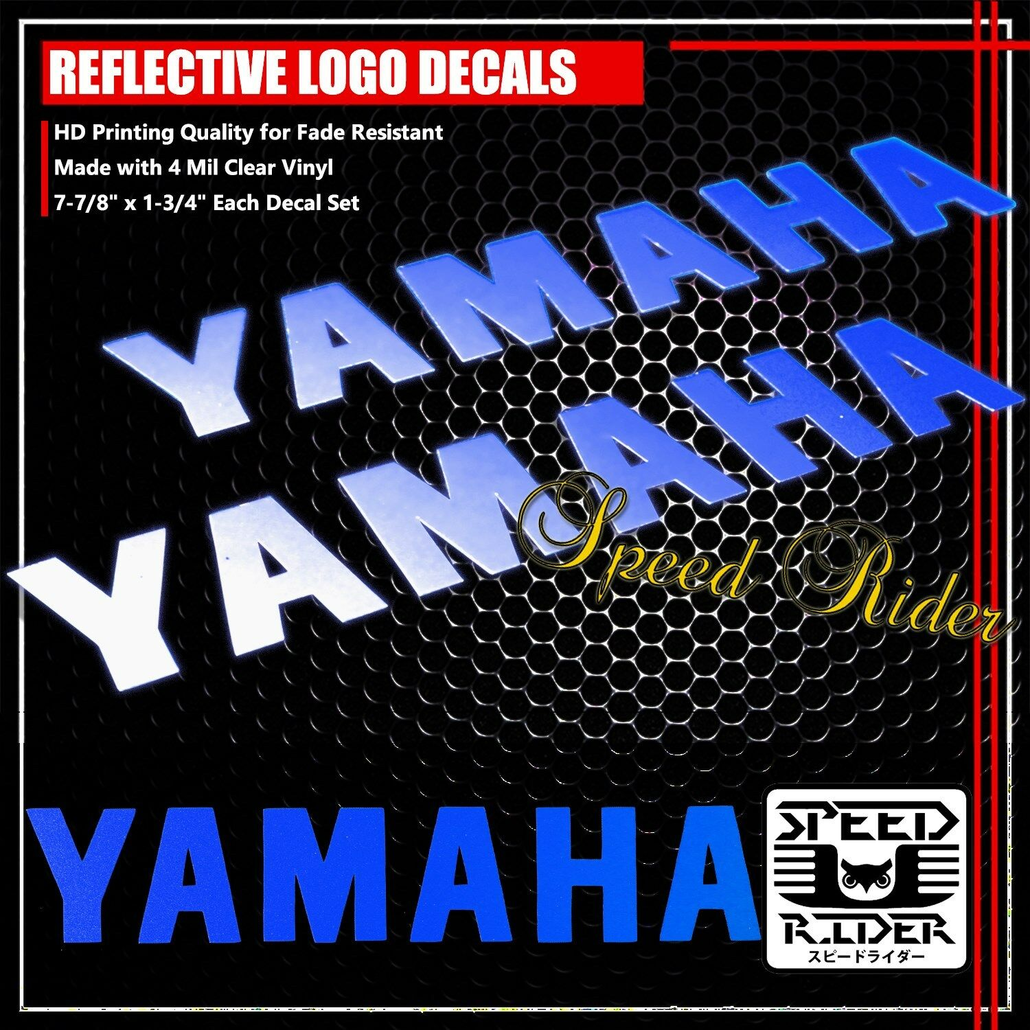Yamaha R1 Flame Style Stickers in Blue Vinyl 145mm x 2 Left /& Right Hand
