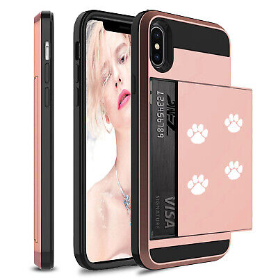 (For Apple iPhone Shockproof Wallet Credit Card Case Cover Paw Prints Walking)