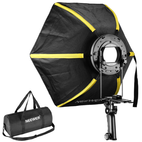 """Neewer 24"""" Hexagonal Softbox Collapsible Diffuser with Handle Grip Black/Yellow"""