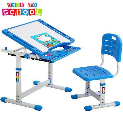 Blue Adjustable Children's Desk Chair Set Child Study Desk Kids Study Table XLQ Desks