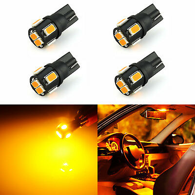 JDM ASTAR 4x T10 921 High Power 5630 Chip SMD LED Amber License Plate Light Bulb