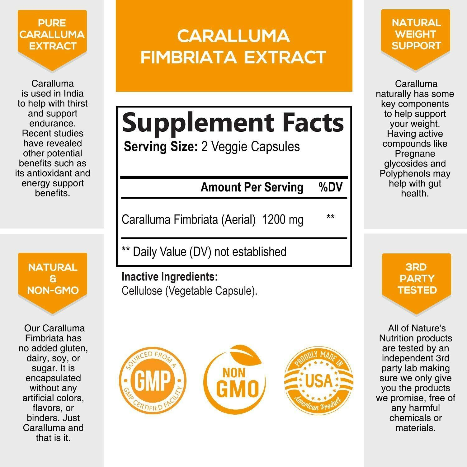 100% Pure Caralluma Fimbriata 1200mg Highest Potency Natural Weight Loss Diet 1