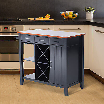 Kitchen Storage Island Cabinet Wood Top Cupboard Counter Table w/ Wine Rack New