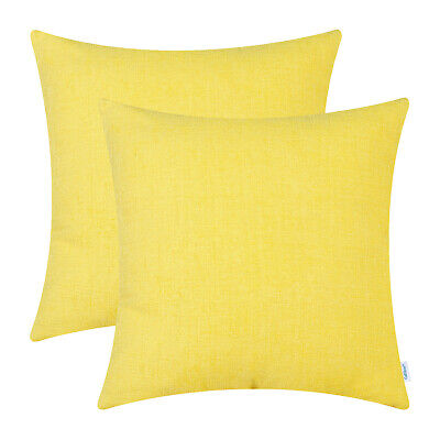 2Pcs Bright Yellow Cushion Covers Pillows Shells Solid Dyed Soft Chenille 22x22""