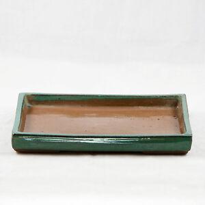 Rectangular Green Ceramic Humidity/Drip Tray for Bonsai Tree - 8.25