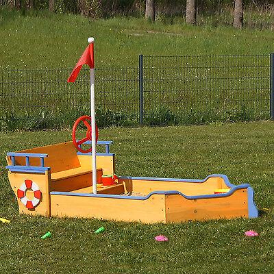 Sandkasten Boot aus Holz mit Geheimversteck, Piratenboot, Pirat, Holzsandkasten