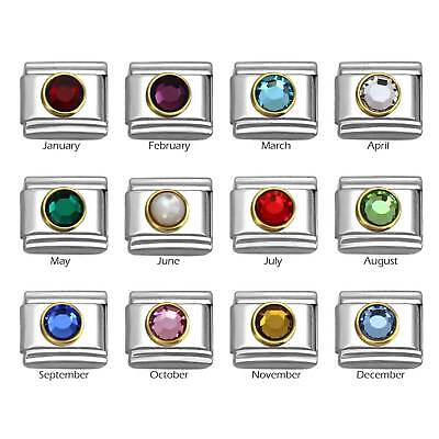 Birthstone with Gold Frame on 9mm Stainless Steel Italian Charm Bracelet Link Gold Birthstone Charm
