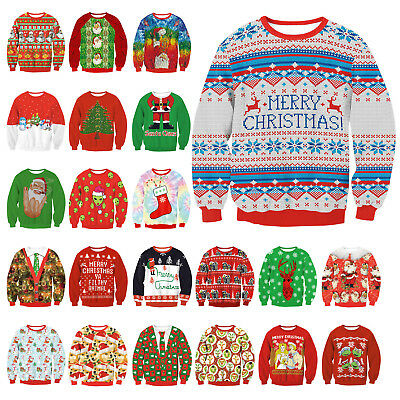 CHRISTMAS Men Women Ugly Sweater Santa Sweatshirt XMAS Warm Tops Blouse - Men Christmas Outfit