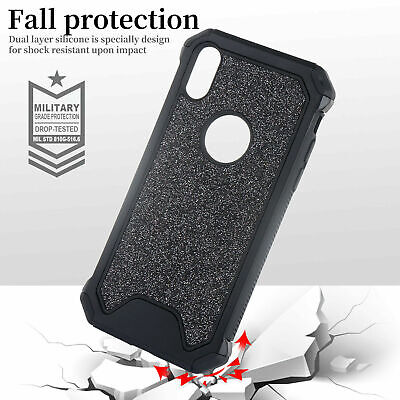 Glitter Heavy Duty Armor Rubber Case Cover Hard Back For iPhone 7 8 Plus XS Max