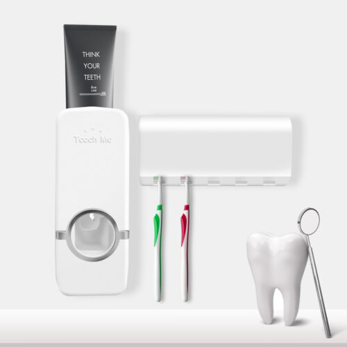 Auto Automatic Toothpaste Dispenser+ 5 Toothbrush Holder Set Wall Mount Stand US