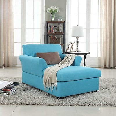 Large Classic Fabric Living Room Chaise Lounge Single Sofa, Sky Blue
