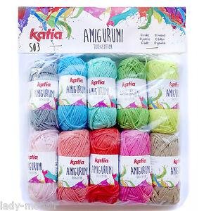 6-95-100g-AMIGURUMI-Katia-Hakel-Strickgarn-100-Baumwolle-Cotton-yarn-10x10gr