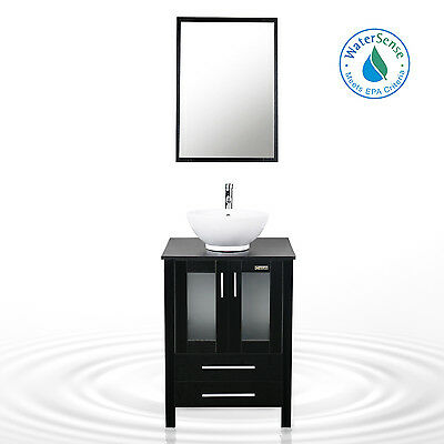 "Vanity Cabinet Bathroom 24"" Vessel Ceramic Sink W/ Faucet Single Mirror Black"