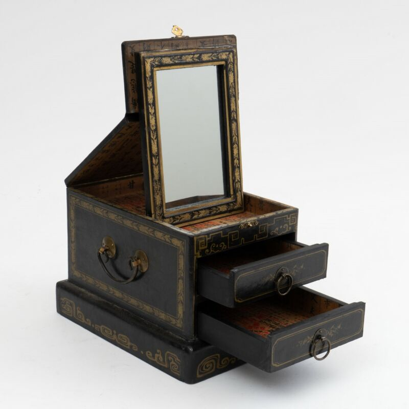 Chinese Vanity Jewelry Box Black Lacquer and Gold Gilt, Mirror & 2 Drawers