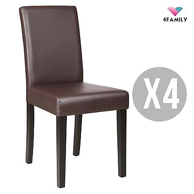 Set of 4 Elegant Design Dining Chair Kitchen Dinette Room Brown Leather Backrest