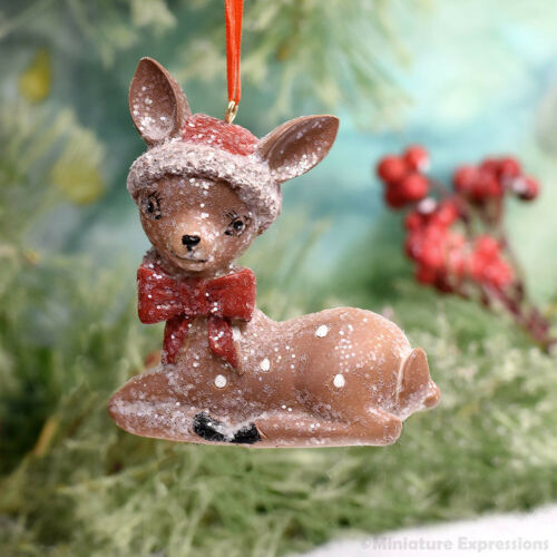 Vintage Sitting Deer Christmas Ornament Tree Decoration