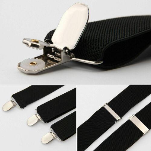 4clips Unisex Men Women Braces Plain Black Wide Heavy Duty Suspenders Adjustable