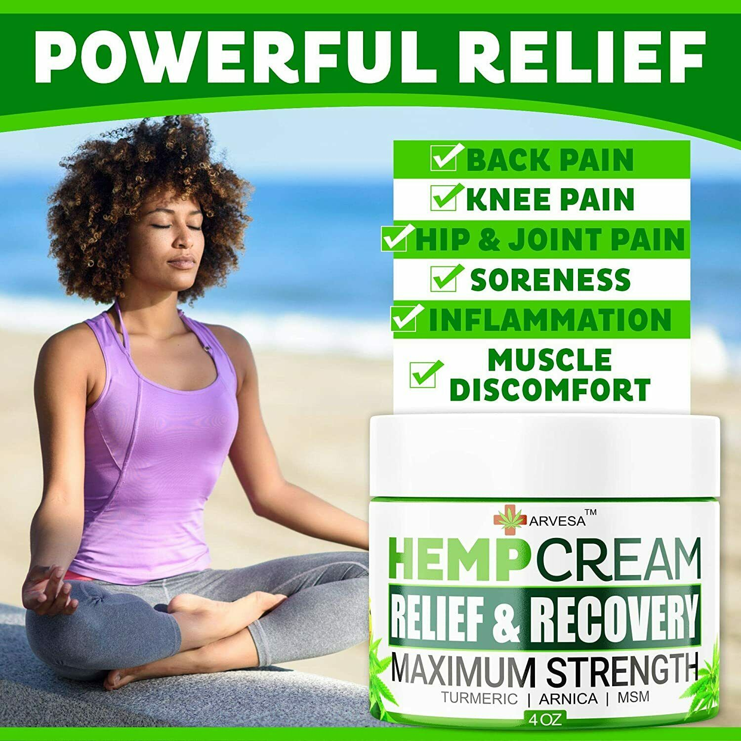 Instant Hemp Pain Relief Cream 8M Muscle Joint Foot Back Turmeric Arnica 4oz USA 2