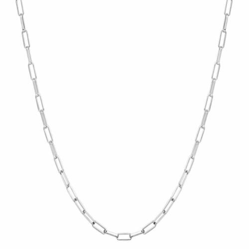 """3MM Solid 925 Sterling Silver Italian Paperclip Rolo Chain Necklace Italy 7""""-30"""""""