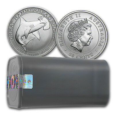 SPECIAL PRICE! 2015 1/2 oz Australian Silver Hammerhead Shark (Lot, Tube of 25)