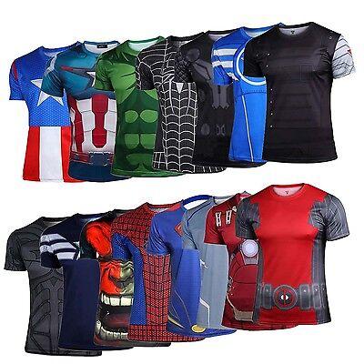 Men T-Shirts Marvel Top Costumes The Avengers Super Heroes Batman Sport Casual T](Men Superhero Costumes)
