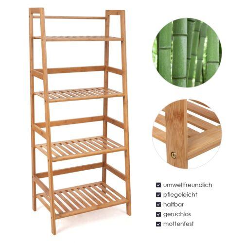Bambus Standregal 4 Böden Holzregal Haushaltsregal Badregal Bücher Sauna Regal