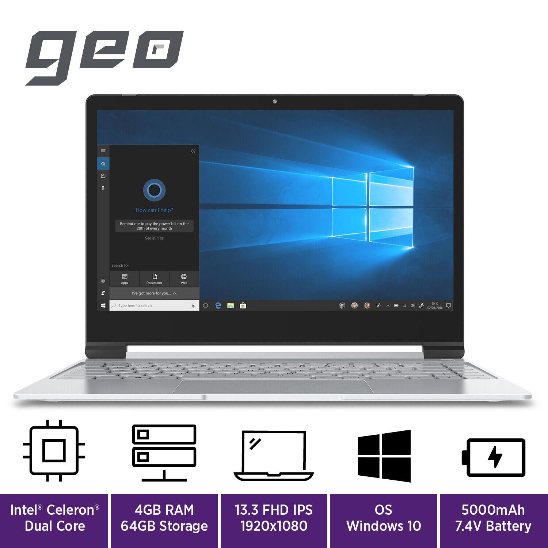 "Laptop Windows - GeoBook 3 13.3"" Laptop Windows 10 Intel Celeron 4GB RAM 64GB eMMC Geo Book"