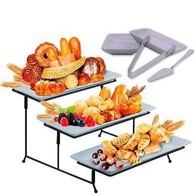 3 Tier Serving Tray Stand - Rectangular Dessert Party Platter with Sauce Dish ()