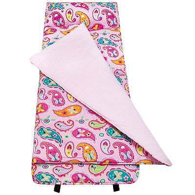Girls Pink Paisley Nap Mat Kid Blanket Pillow Case Travel Sleeping Bag Butterfly