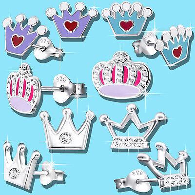 Mädchen Krone Prinzessin Ohrstecker echt Silber 925 Sterling (Prinzessin Ohrringe Für Kinder)