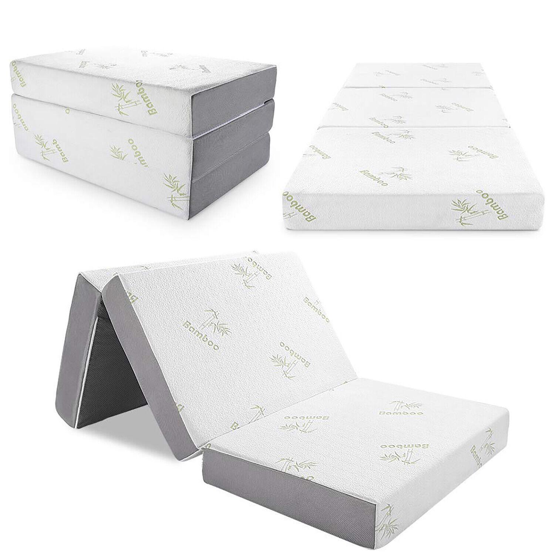 "6"" Tri-Fold Matress Folding Mattress Memory Foam Plush Firmn"
