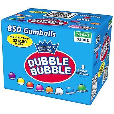 Dubble Bubble 850 1 inch Gumballs 8 Flavor Gum Assorted Bulk Candy Vending Case