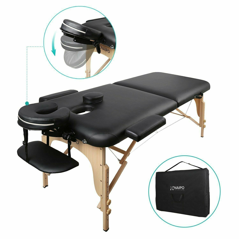 NAIPO Massageliege Massagetisch Massagebank Therapieliege mit 2 Zonen klappbar