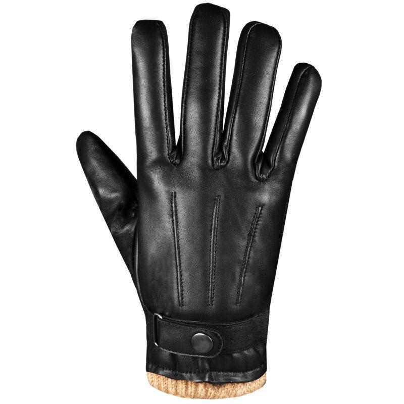 Men Touchscreen Lambskin Leather Winter Dress Motorcycle Warm Cashmere Gloves