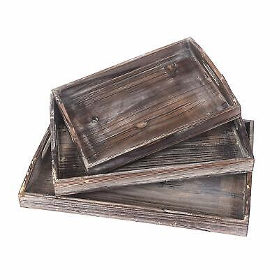 Xmas Gift Wood Serving Tray Stackable Carrying With Routed Handles Fast Set of -