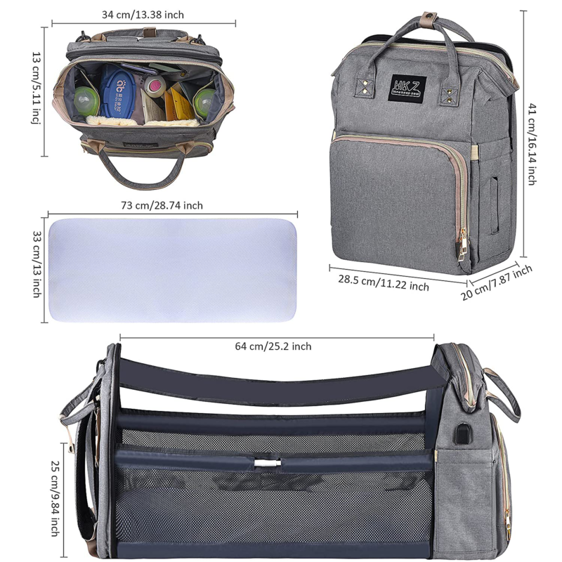 Diaper Bag Backpack - With Changing Station HKZ 5 In 1 Baby Diaper Bags For Girl - $50.99