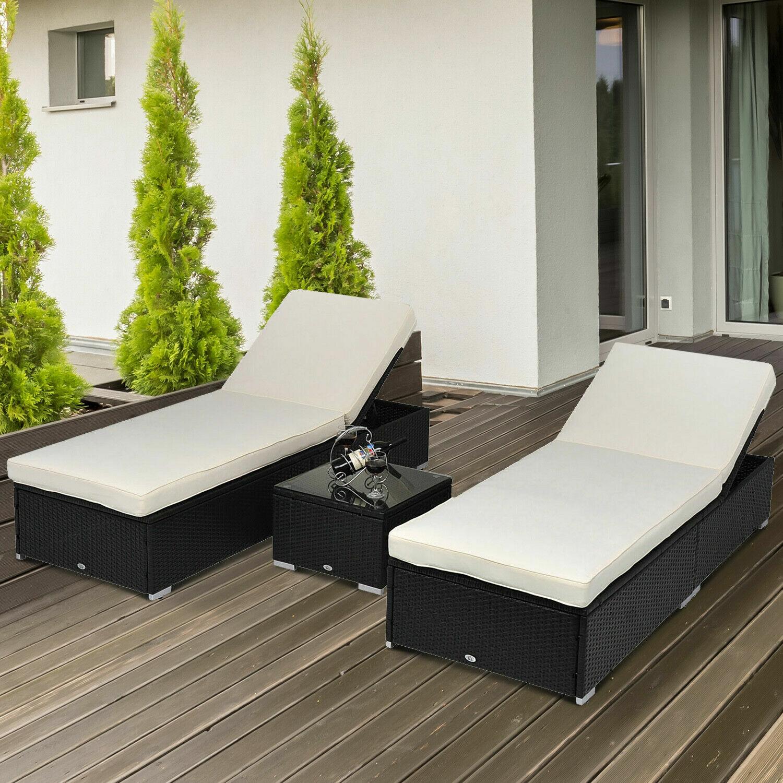 Garden Furniture - 3PC Rattan Wicker Chaise Lounge Chair Set Outdoor Patio Garden Furniture Pool