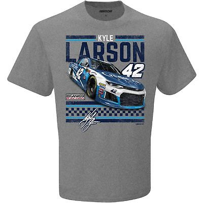 2018 Kyle Larson  42 Credit One Vintage Heather Grey Short Sleeve Tee Shirt