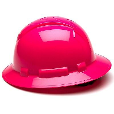 Pyramex Full Brim Hard Hat With 4 Point Ratchet Suspension Hi-vis Pink