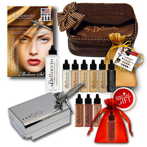 Belloccio Professional Medium Shade AIRBRUSH COSMETIC MAKEUP SYSTEM Holiday Kit