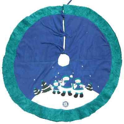 Mariners Christmas Tree Skirt With Snowmen Wearing Scarfs & Mariners Symbol ()