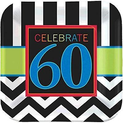 60th Birthday Party Plates (60th Celebration Chevron Stripes Adult Birthday Party 9