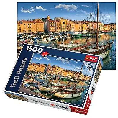 Trefl 1500 Piece Adult Large Saint Tropez Old Port Ships Boat Jigsaw Puzzle NEW