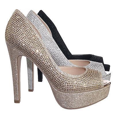 Evening High Heels - After Rhinestone Crystal Glitter High Heel d'Orsya Evening Party Dress Pump