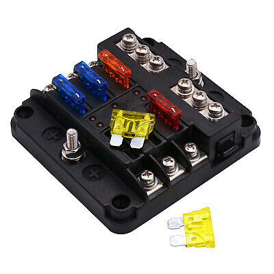 Fuse Box With Negative Blade Holder 6 Way With LED Indicator For Van Car UK