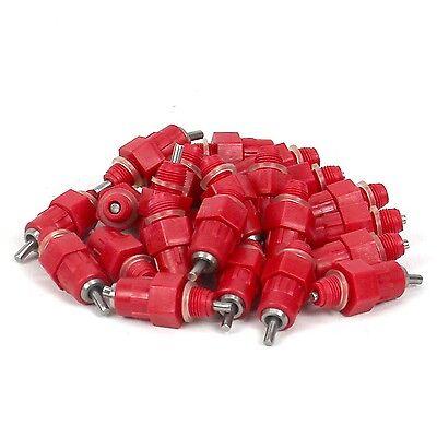 25 Automatic Chicken Water Nipple Drinker Feeders Poultry Hen Screw Style Red