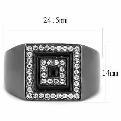 Square in Square Face Light Black IP Stainless Steel Mens Fashion Cool (Light Stainless Steel Face Ring)