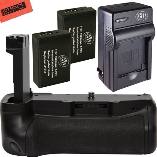 Battery Grip for Canon Rebel T7i Camera + 2 LP-E17 Battery + Charger