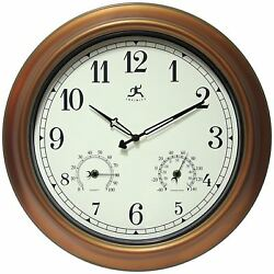 Best 18 Inch Large Outdoor Wall Clock Waterproof Temperature Humidity NEW
